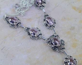 """Light Pink Topaz Necklace 19 1/4"""" Princess Style"""