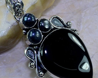 Black Onyx and Black Pearl Sterling Silver Pendant 2 3/4""