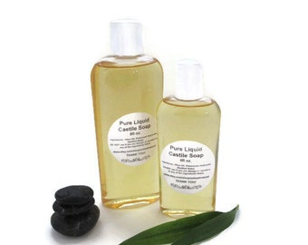 Pure Liquid Castile Soap, Unscented All Natural Liquid Soap, 4 oz. Fragrance Free Dye Free Olive Oil Liquid Soap.