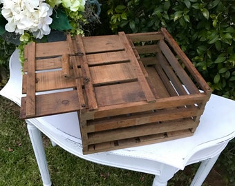 Vintage Wood Egg Crate, Farmhouse Storage, Primitive Wooden Egg Carrier, French Country Farmhouse Decor, Wooden Egg Box