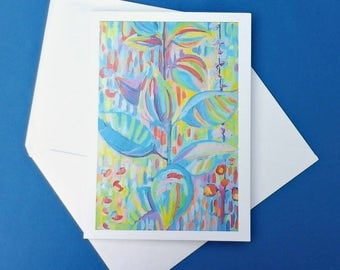 Abstract flowers greeting card, art blank card, write your own message, handmade stationery invitations and greetings for any occasion
