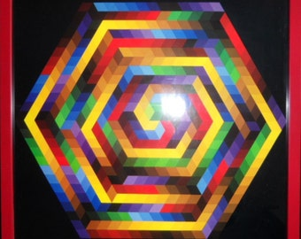 VASARELY - Gravure original 1971 - Edition of the GRIFFON