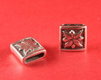 3/9 MADE IN EUROPE zamak slider, flat cord slider, 15mm cord slider, zamak engraved slider (95244/15) Qty1