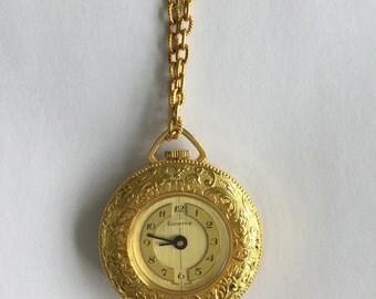 Vintage Lucerne wind-up watch pendant necklace