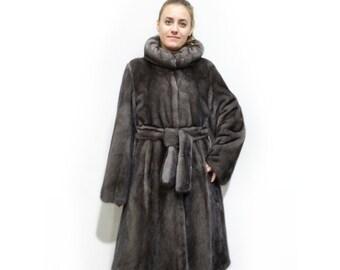 Luxury Mink Fur Coat,Long Hooded Grey Coat F319