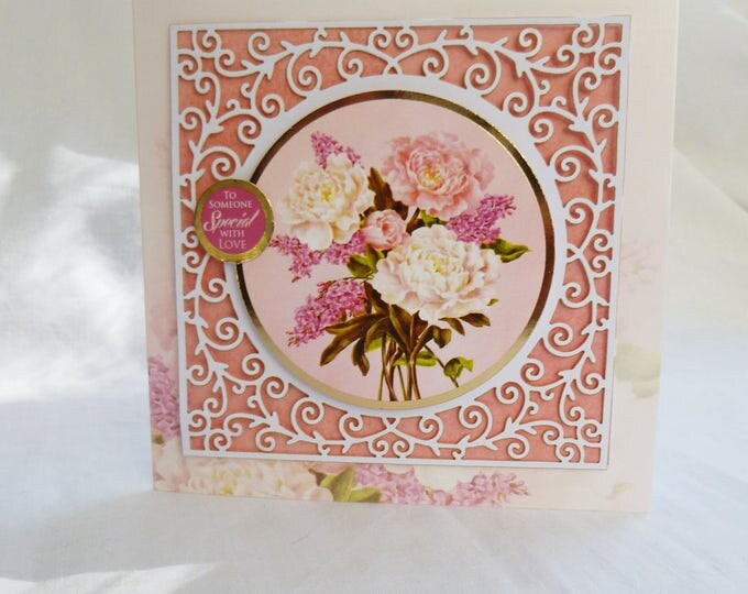 Filigree Decoupage Birthday Card, Greeting Card, Floral, Female, Any Age, Mother, Daughter, Sister, Niece, Aunt, Friend