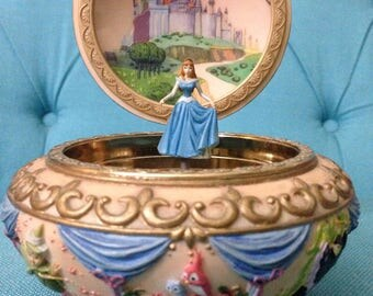 Extremely Rare Hand Painted Disney's Sleeping Beauty Round Music Box
