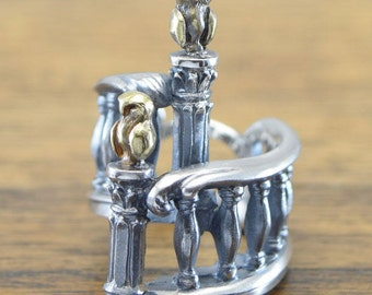 Spiral staircase and Owl Ring,delicate hand carving,925 Solid,Sterling Silver,Brass