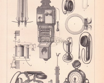 Antique Telephone Print - Various telephone and communication devices from 1890