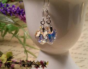 Crystal heart earrings, Swarovski crystal earrings, Heart earrings, Valentine heart earrings, Romantic crystal heart earrings, Heart earring