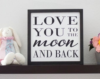 Love You To The Moon And Back Moon And Star Wall Art Girls