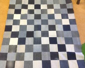 Junior Size Upcycled Denim Picnic or Utility Blanket