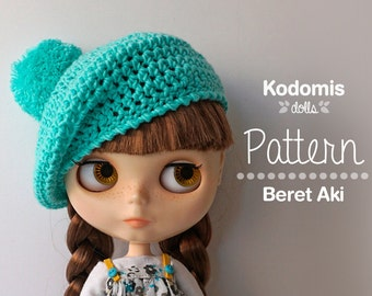 Pattern PDF - Beret Aki for Blythe with pompom - DIY