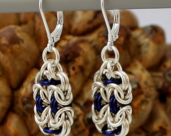 Silver Plated Chainmaille Earrings, Blue Earrings, Silver Earrings, Silver Plated Earrings, Chainmaille Earrings, Chain Mail Earrings