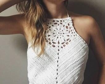 Bohemian Crochet Lace Crop Halter Top || Festival
