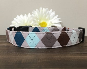 Dog collar, Argyle dog collar, Plaid dog collar, fun dog collar, wedding dog collar, handsome dog collar, boy dog collar, male dog collar