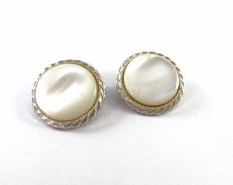Large Round White Cream Opaque Vintage Clip On Earrings