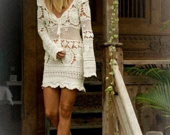 Bettina Long Sleeve Crochet Dress, cream crochet dress, short crochet dress