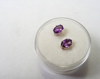 Amethyst Posts.  Natural 5 x 3mm. Oval Amethyst Silver Stud Earrings.