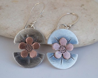 Sterling silver earrings, Silver flower earrings, Mixed metal earrings, Silver and copper earrings, Artisan silver earrings, Handmade,Unique