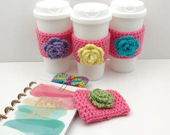 Pink Crochet Cup Cozy: Coffee/Tea Sleeve with flower (Purple, Yellow, Blue, or Green)    [047]