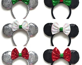 Christmas Minnie Mouse Sequin Ears Holiday Mickey Mouse Sequin Ears
