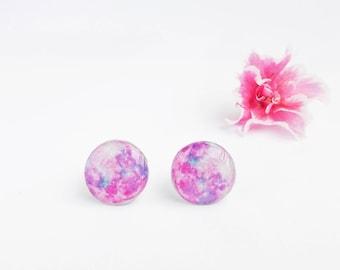 Purple moon earrings Moon jewelry Pink earrings Hipster earrings Girlfriend gift idea Moon accessories Moon gift idea Gift for her