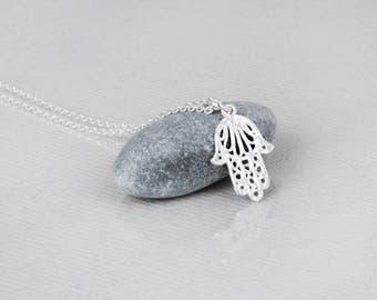 Tiny Hamsa Necklace, Sterling  Silver Hamsa Necklace, Hamsa Hand necklace, Filigree Hamsa Necklace, Rose Gold Hamsa, Dainty Necklace Charm