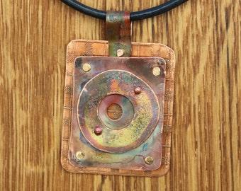 Triple Threat - handmade copper necklace.