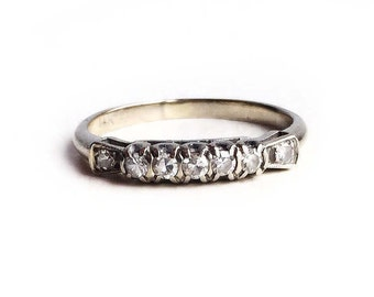 Diamond Wedding Band~ Vintage Art Deco 14k White Gold Ring - Size 6 Anniversary Engagement Ring Antique Fine Jewelry
