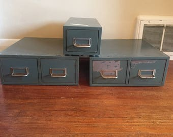 Vintage Library Card Catalog. 3 Vintage Mid Century Metal Library Catalog Index Card Holders. Industrial Furniture. Metal Filing Storage.
