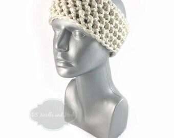 Cream Crochet Headband, Chunky Beige Ear Warmer, Off White Head Wrap, Knit Winter Headband, Winter White Head Warmer,