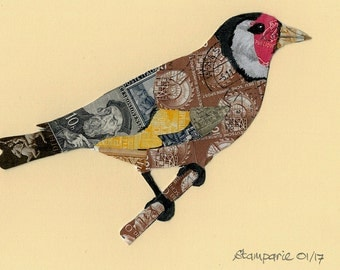 FREE SHIPPING ; Goldfinch - Unique hand-made collage from different cancelled vintage postage stamps from various countries in the world.