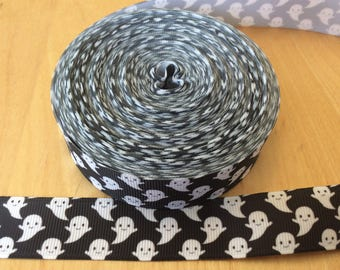 Ghost  ribbons, Halloween ribbons, fall ribbons, 1 inch Grosgrain ribbons, perfect for hairbows, scrapbooking and more