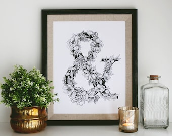 "REDUCED Black and White Pen and Ink Print ""Floral Ampersand"" 11 x 14"