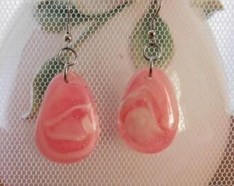 pink white glitter handmade earrings