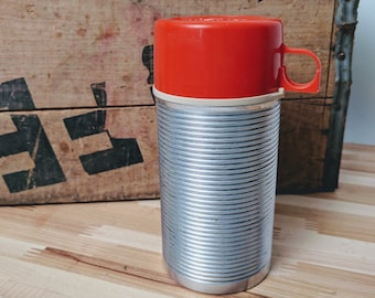 Half-Pint THERMOS bottle - Red and Aluminum - Small Vintage flask or bottle - 1960s