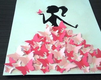 "guest book - tree signature-3d tree prints ""girl with butterflies"""