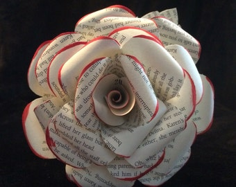 1 dozen large book page paper flowers with leaves and red painted tips, valentine flowers, anniversary gift, proposal gift, girlfriend
