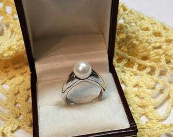 17.2 mm silver ring with Pearl 925 Silver precious SR527