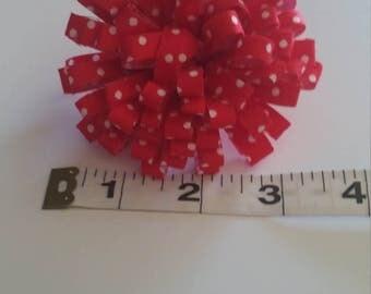Red and White Polka Dot Flower Hair Clip