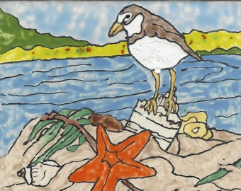 Sandpiper #202 Hand Painted Kiln Fired Decorative Ceramic Wall Art Tile 6 x 6