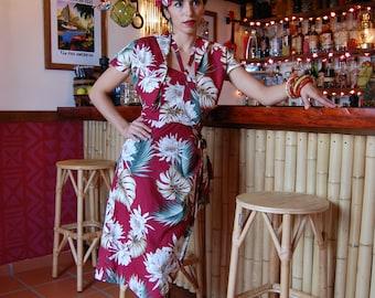 1950s Hawaiian sarong with bolero, reproduction vintage sarong set, tropical lotus flower or tropical  coral reef