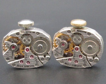 Vintage Watch Movements, Hamilton Pinstripe Movements, Mechanical Watch Movement for Cuff Links, Steampunk or Altered Art (#HM09)