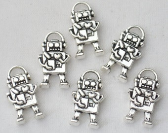 8 Pcs Robot Charms Antique Silver Tone 2 Sided 17x9mm - YD0608