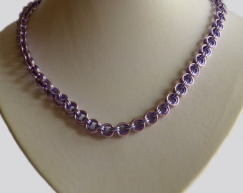 Violet Lavender pink, Chainmaille necklace