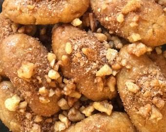 Melomakarona - Homemade Greek Honey Cookies - Christmas Cookies - Holiday Gift - Vegan Cookies - One Dozen (12 items)