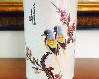 Chinese Hand Painted Vase Pair of Birds Cherry Blossom Tree Branch Signed by Artist