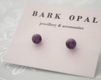 Amethyst Studs, 6mm Stud Earrings, February Birthstone Earrings, Round Amethyst Studs, Amethyst Gemstone Earrings, Purple Earrings