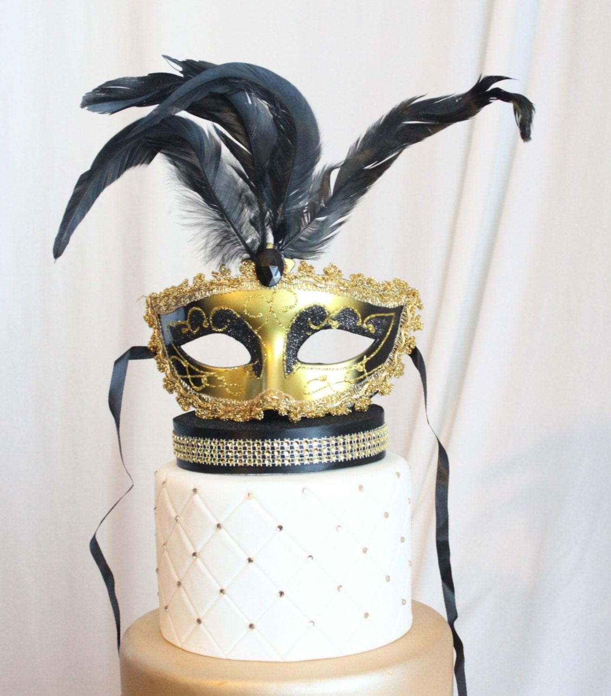 Masquerade Cake Topper Mask Gold And Black Glittery Mardi